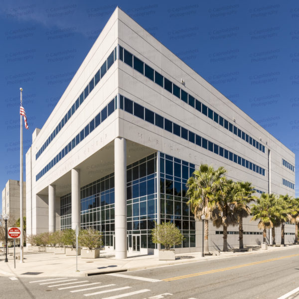 An image of the Marion County Judicial Center, which serves as the Marion County courthouse, in Ocala, Florida.  The Ocala courthouse was originally completed in 1964.  The Marion County Judicial Center later underwent an expansion, completed in 2010.  The expansion of the Marion County courthouse was designed by Architecture Studio, Inc. and Hellmuth, Obata + Kassabaum.  This image © Capitolshots Photography/TwoFiftyFour Photos, LLC, ALL RIGHTS RESERVED.